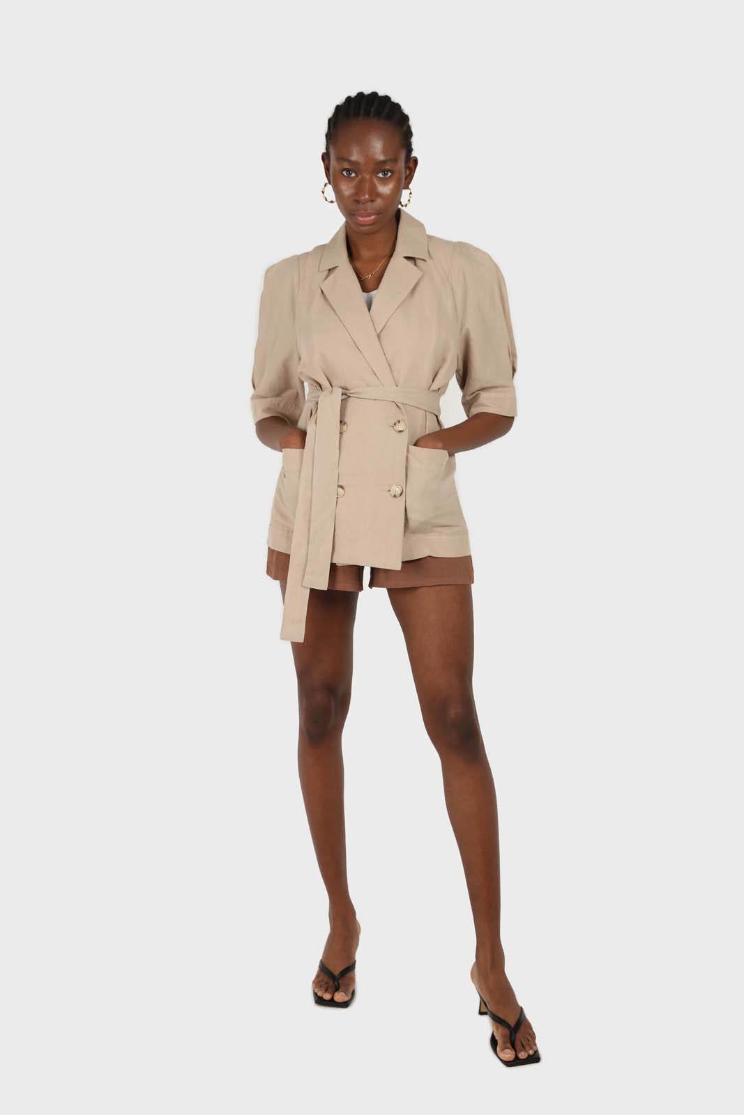 Beige double breasted short sleeved blazer 5