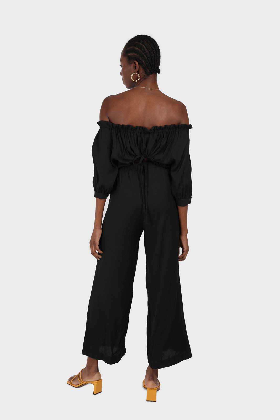 Black off shoulder open back jumpsuit 1