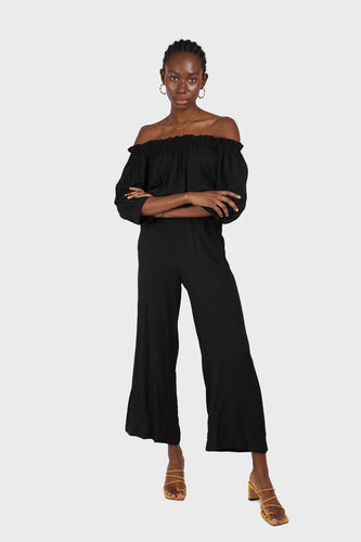 Black off shoulder open back jumpsuit sx