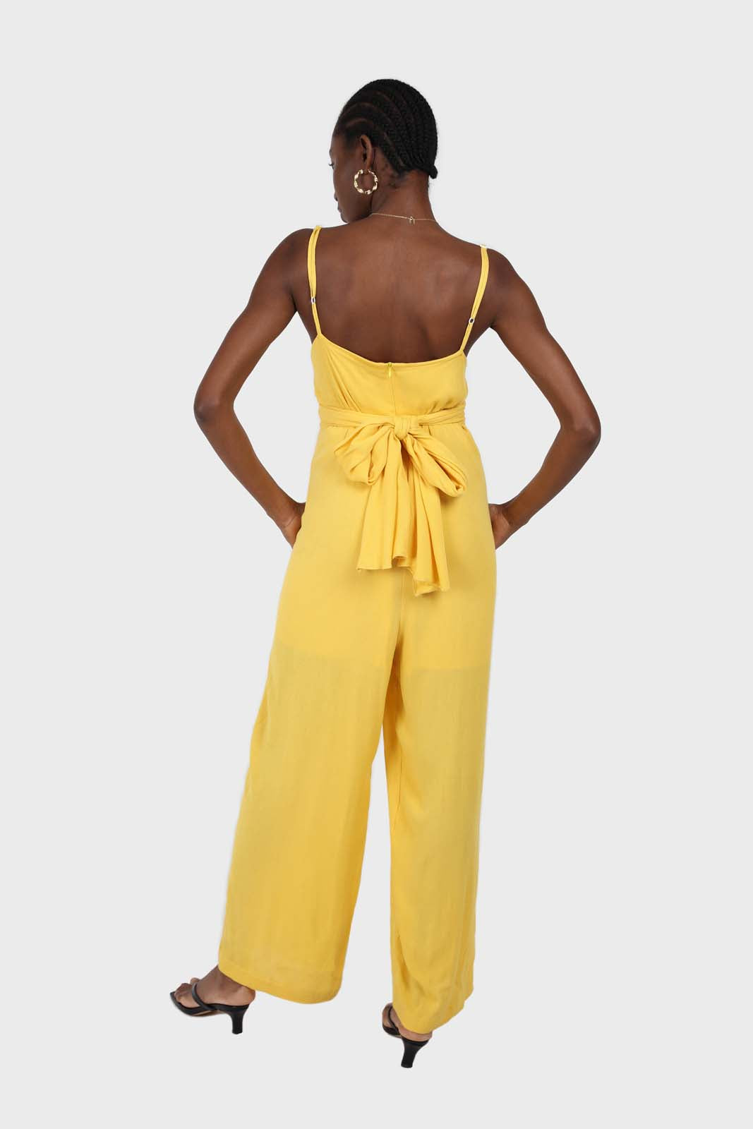 Yellow tie front thin strap jumpsuit 1