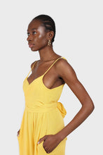 Load image into Gallery viewer, Yellow tie front thin strap jumpsuit 3