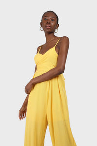 Yellow tie front thin strap jumpsuit 4