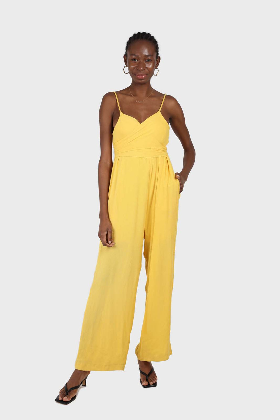 Yellow tie front thin strap jumpsuit sx
