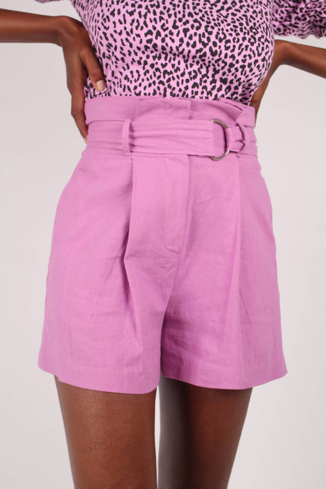 Bright purple tie waist wide fit shorts_1