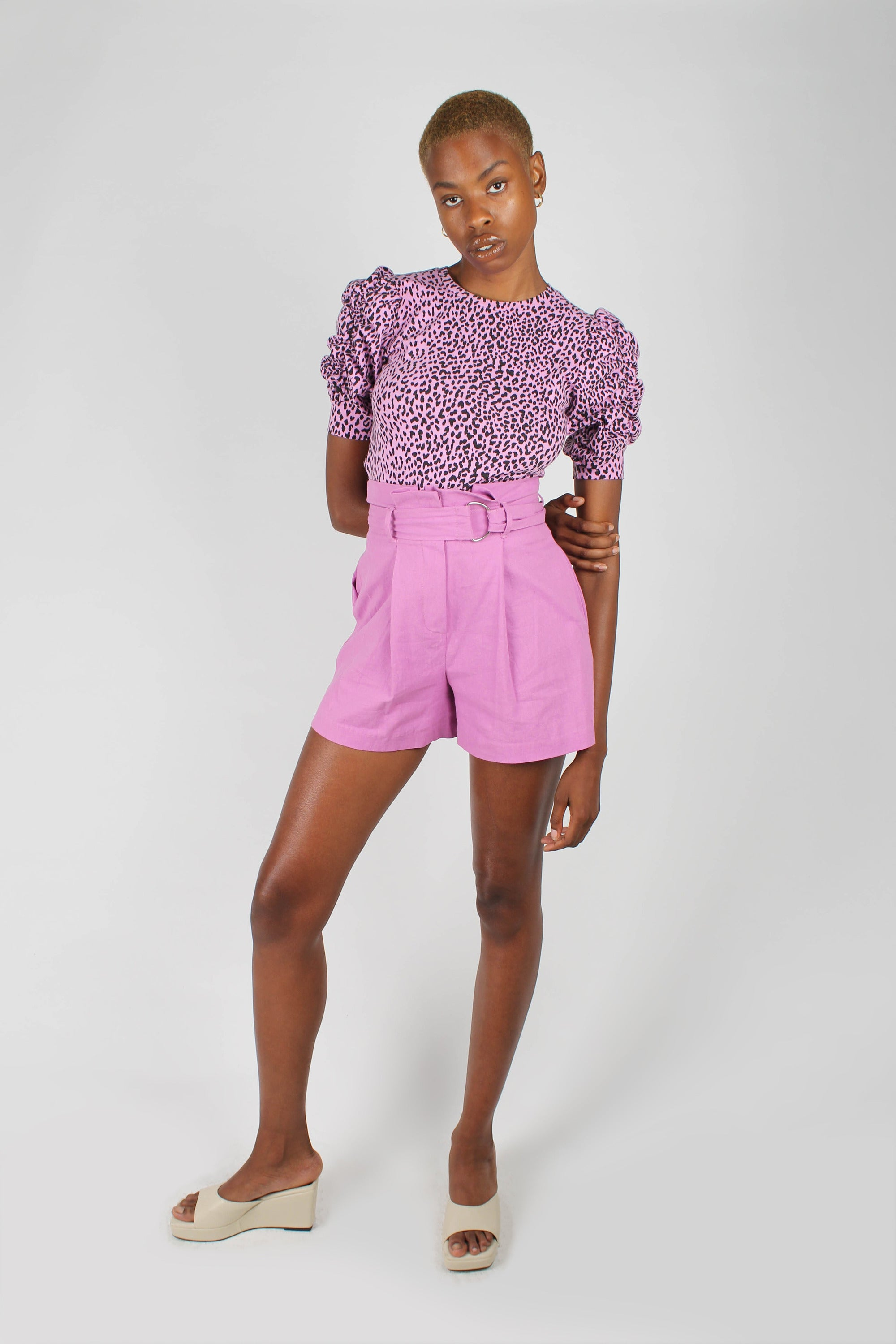 Bright purple tie waist wide fit shorts_2