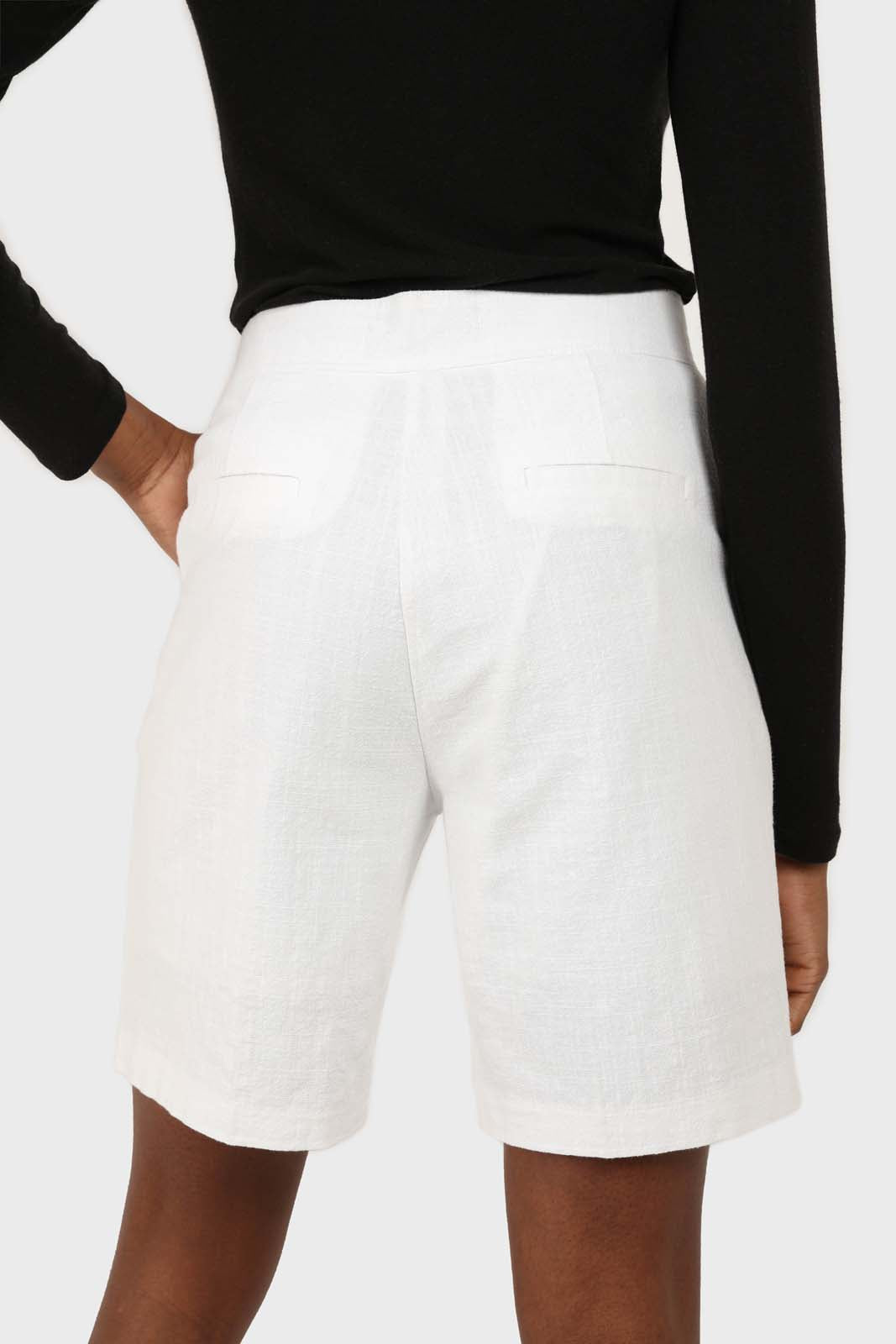 Ivory linen tailored long shorts 2