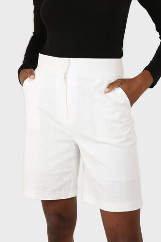 Ivory linen tailored long shorts sx