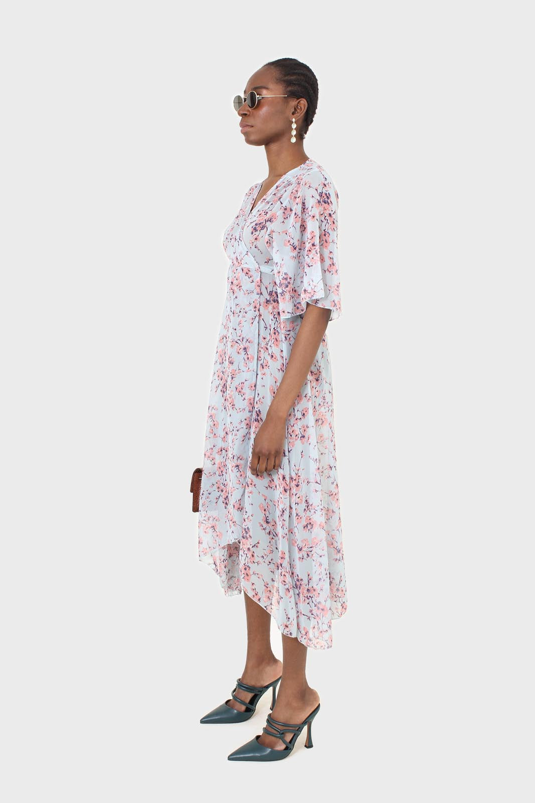 Blue and pink floral belted robe maxi dress2