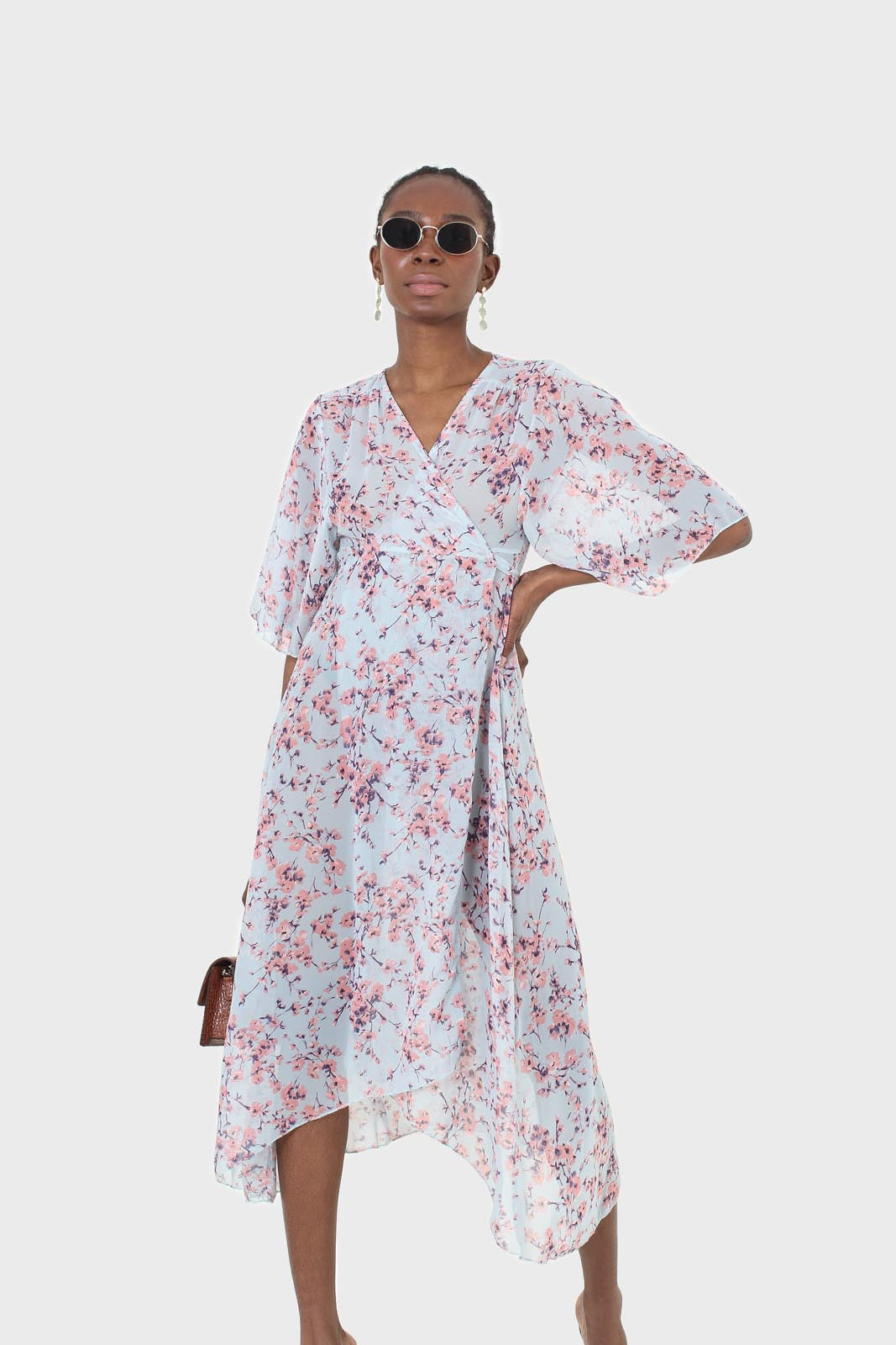 Blue and pink floral belted robe maxi dress5