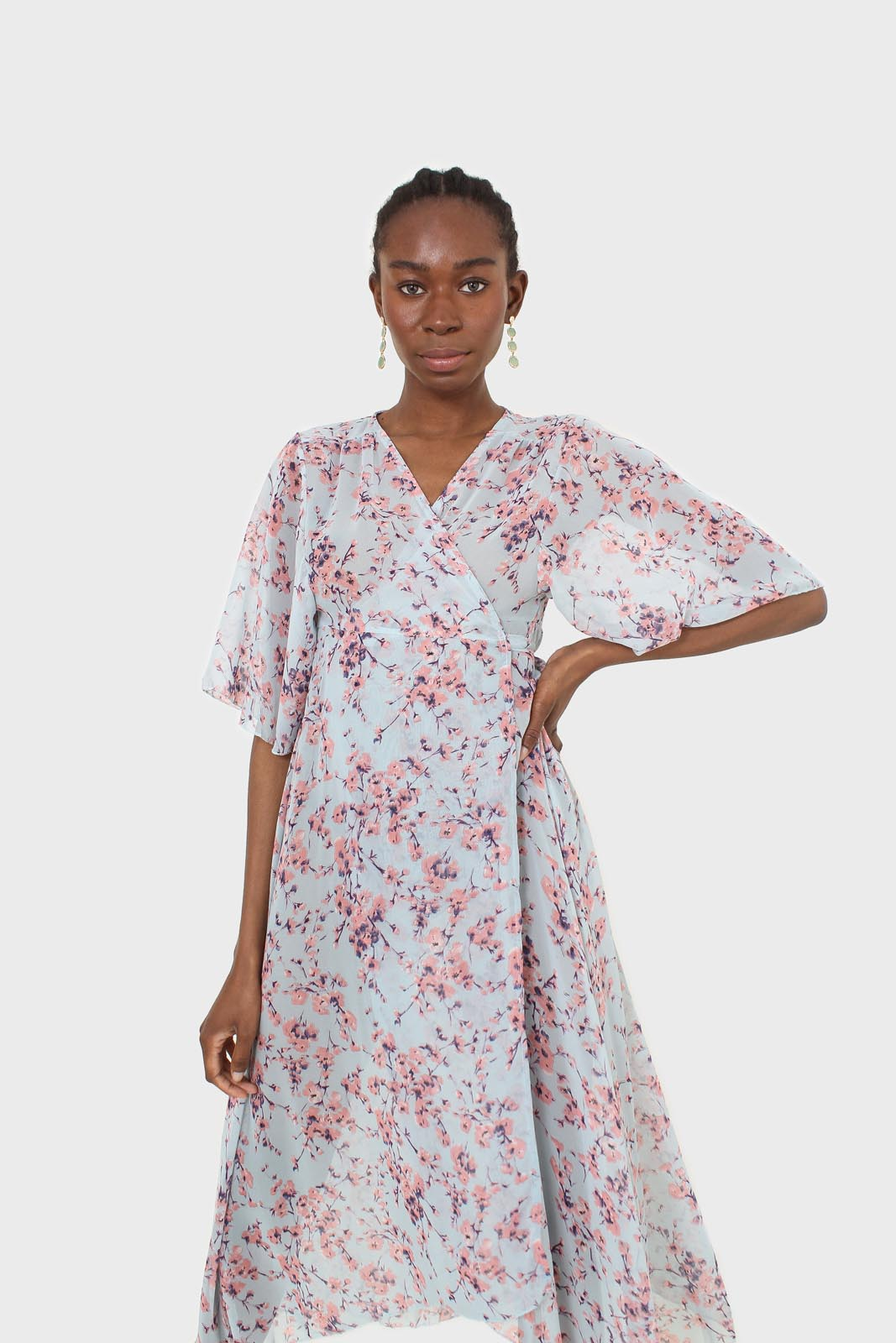 Blue and pink floral belted robe maxi dress7