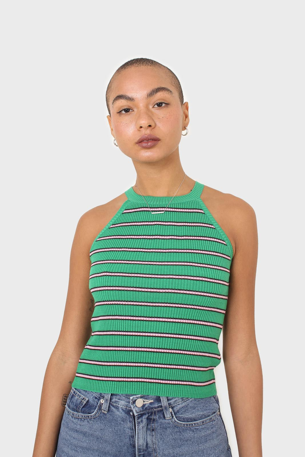 Green and pink striped halter neck knit tank1