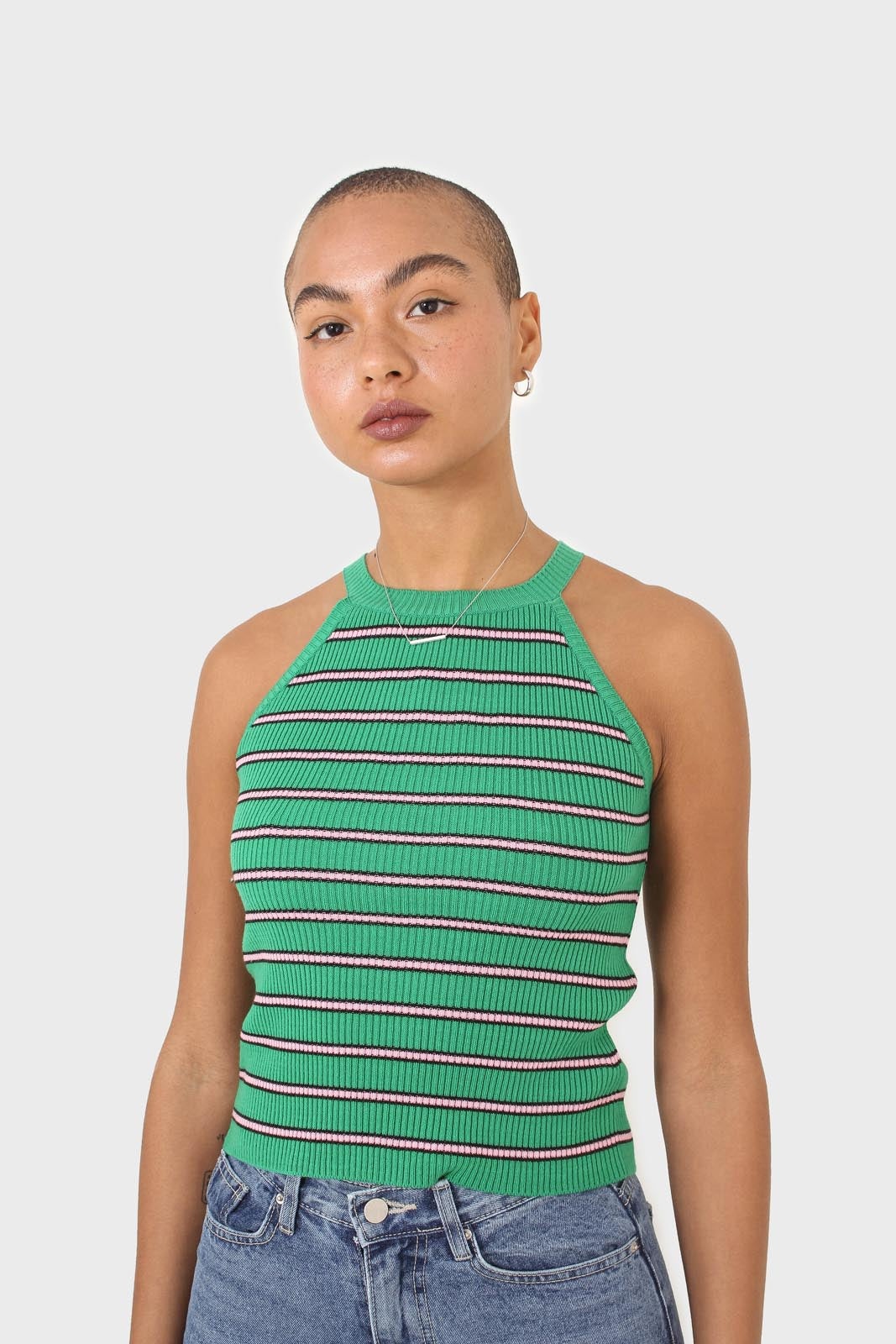 Green and pink striped halter neck knit tank2
