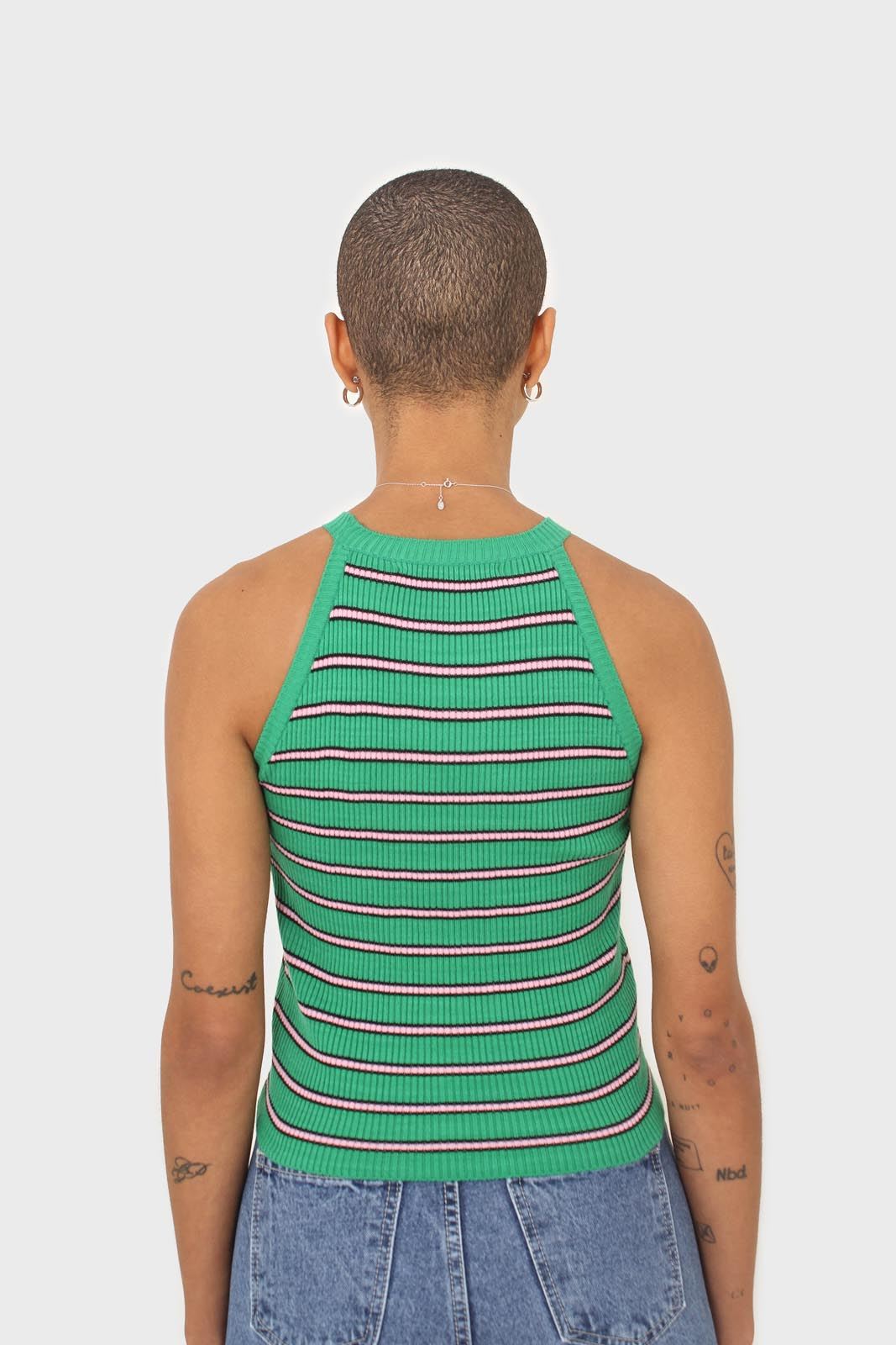 Green and pink striped halter neck knit tank3