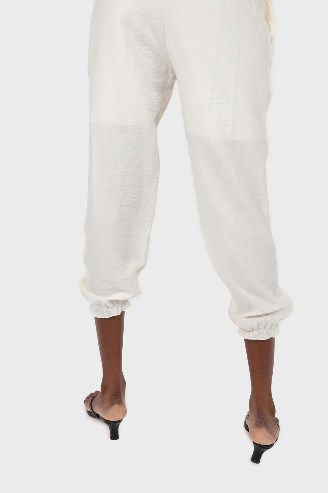 Ivory ruched hem loose fit silky trousers4