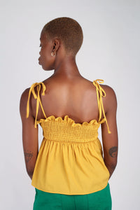 Yellow ruched fit and flare tie shoulder tank_4