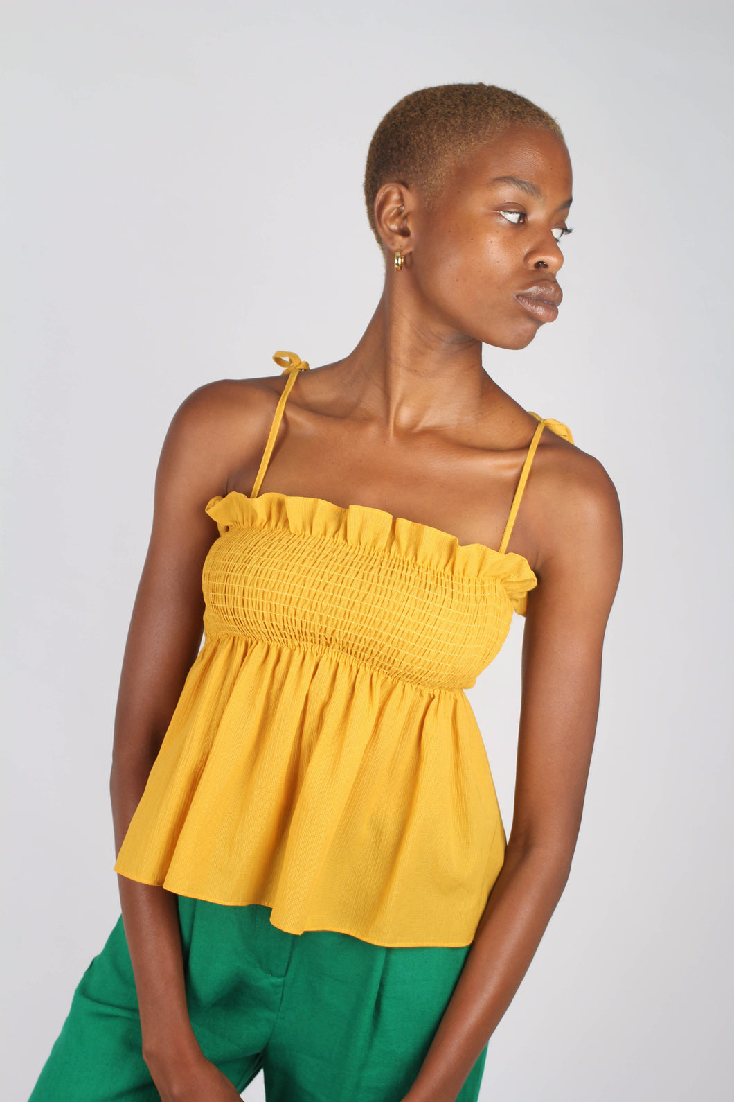 Yellow ruched fit and flare tie shoulder tank_1