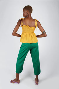 Yellow ruched fit and flare tie shoulder tank_5