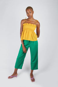 Yellow ruched fit and flare tie shoulder tank_3