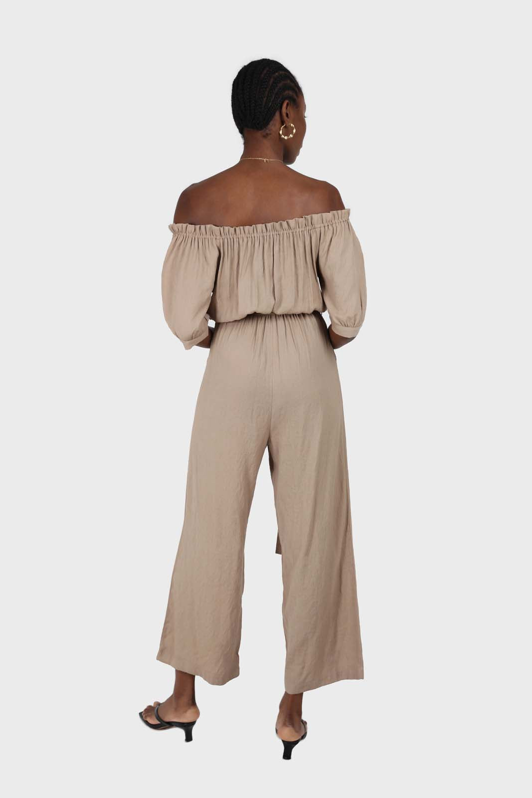 Brown off shoulder tie waist jumpsuit 1