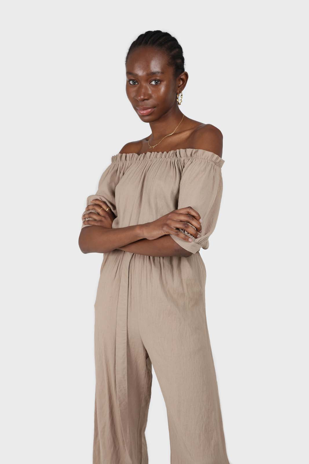 Brown off shoulder tie waist jumpsuit 2
