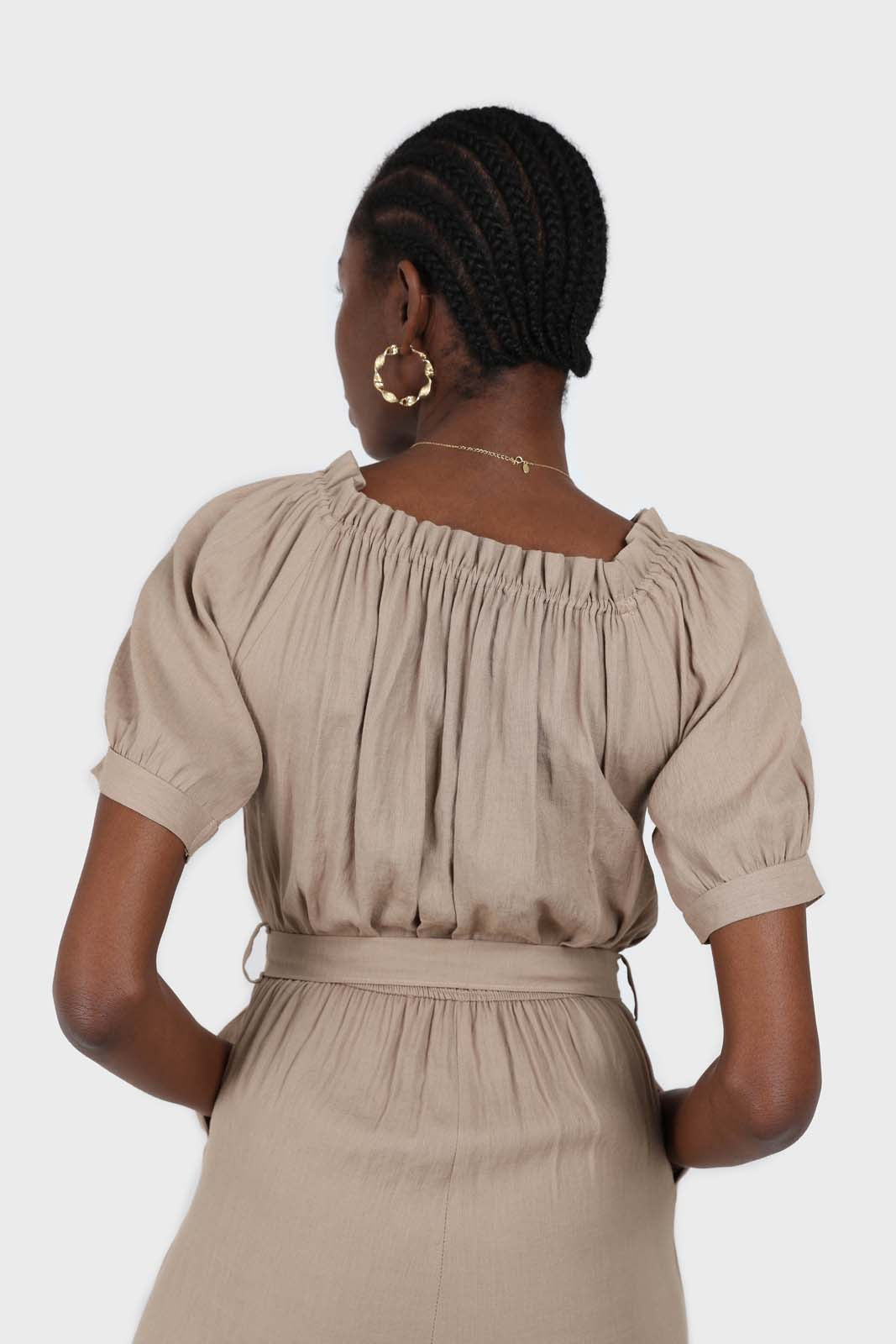 Brown off shoulder tie waist jumpsuit 4