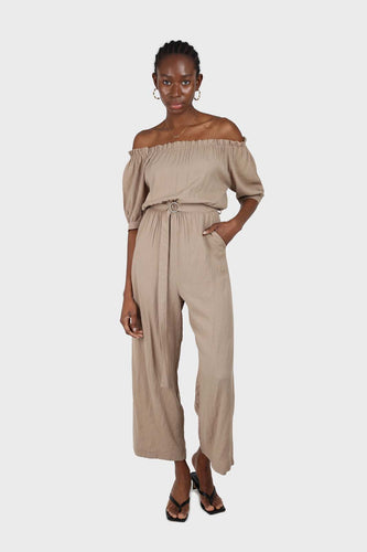 Brown off shoulder tie waist jumpsuit sx