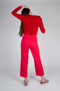 21316_Bright red linen boot cut trousers_MFBBA1