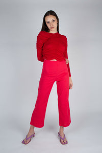 21316_Bright red linen boot cut trousers_MFFBA1