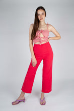Load image into Gallery viewer, 21316_Bright red linen boot cut trousers_MFFBA3