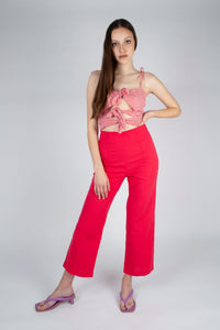 21316_Bright red linen boot cut trousers_MFFBA3