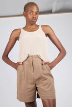 Load image into Gallery viewer, Brown tucked linen wide fit shorts_1