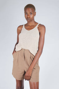Brown tucked linen wide fit shorts_5
