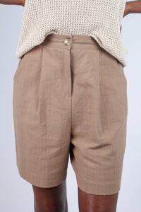 Brown tucked linen wide fit shorts_7