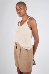 Brown tucked linen wide fit shorts_4