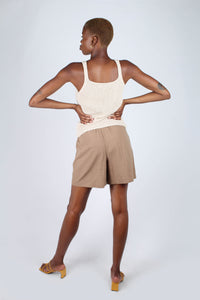 Brown tucked linen wide fit shorts_3