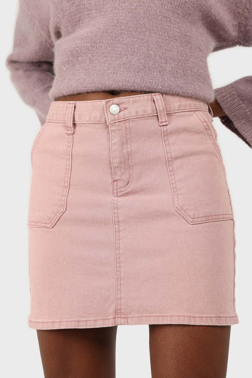Pink patch pocket mini skirt1sx