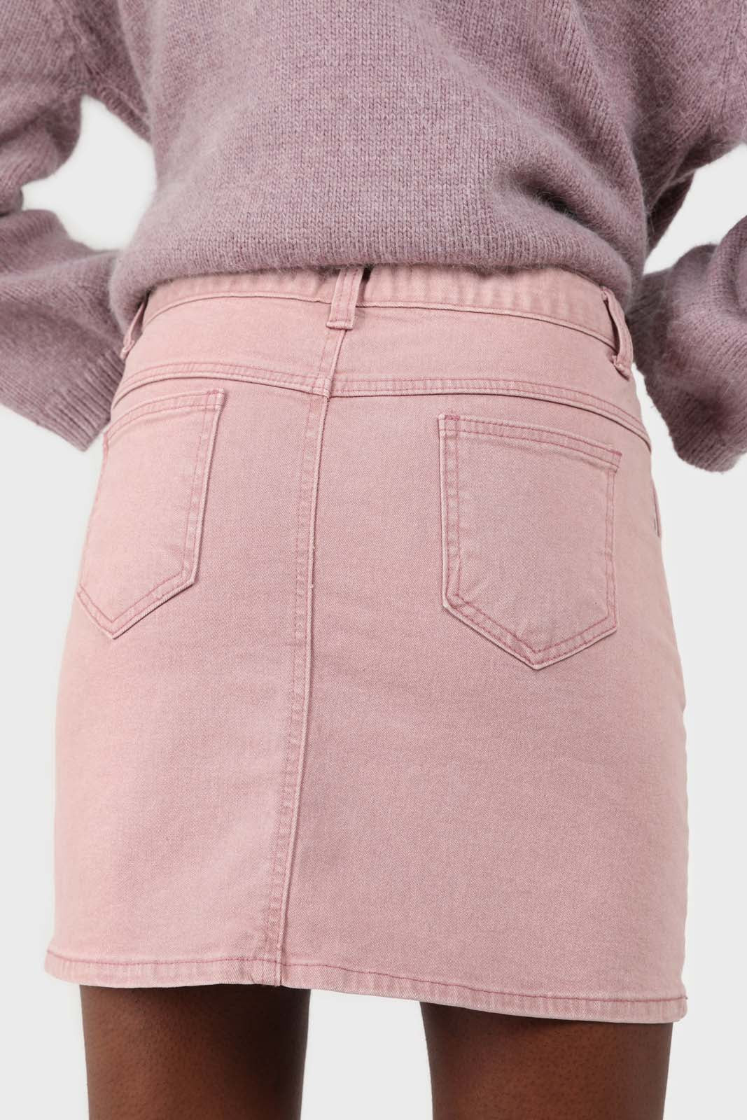 Pink patch pocket mini skirt4