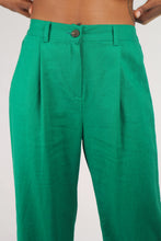 Load image into Gallery viewer, Bright green wide leg linen trousers_1