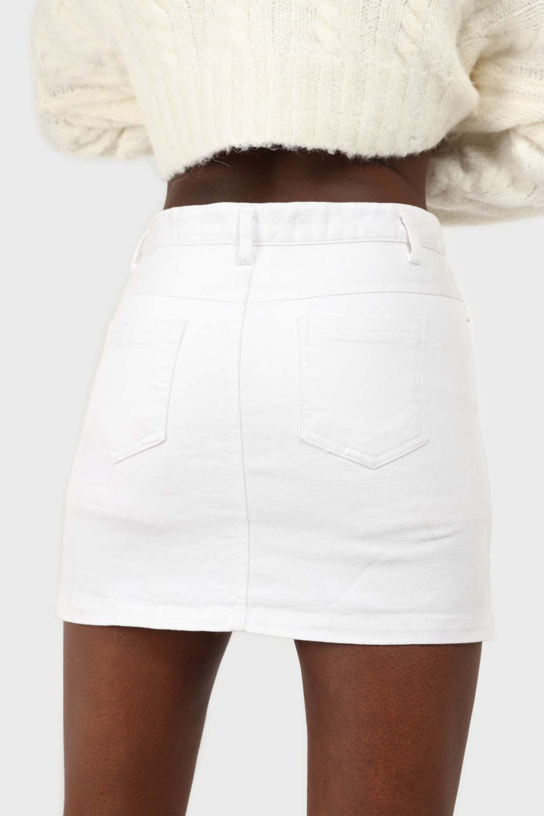 White side slit mini skirt 3