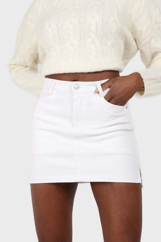 White side slit mini skirt sx