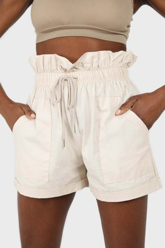 Beige drawstring wide fit shorts1sx