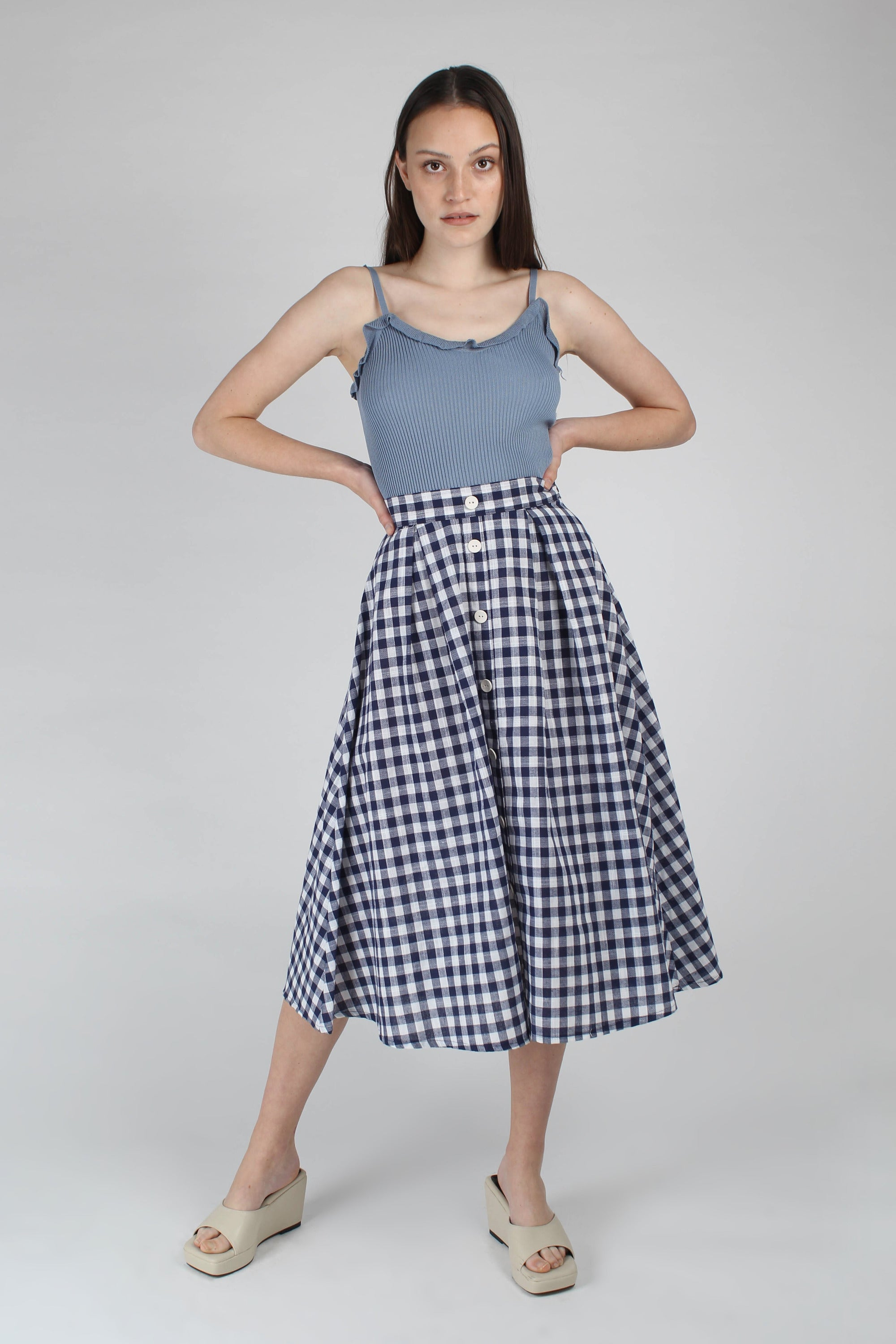 Navy and white gingham midi flare skirt_MFFBA1