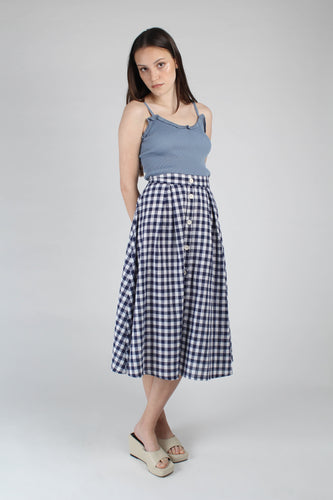Navy and white gingham midi flare skirt_MFFBA3