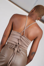 Load image into Gallery viewer, Pale brown open tie back cropped tank_1