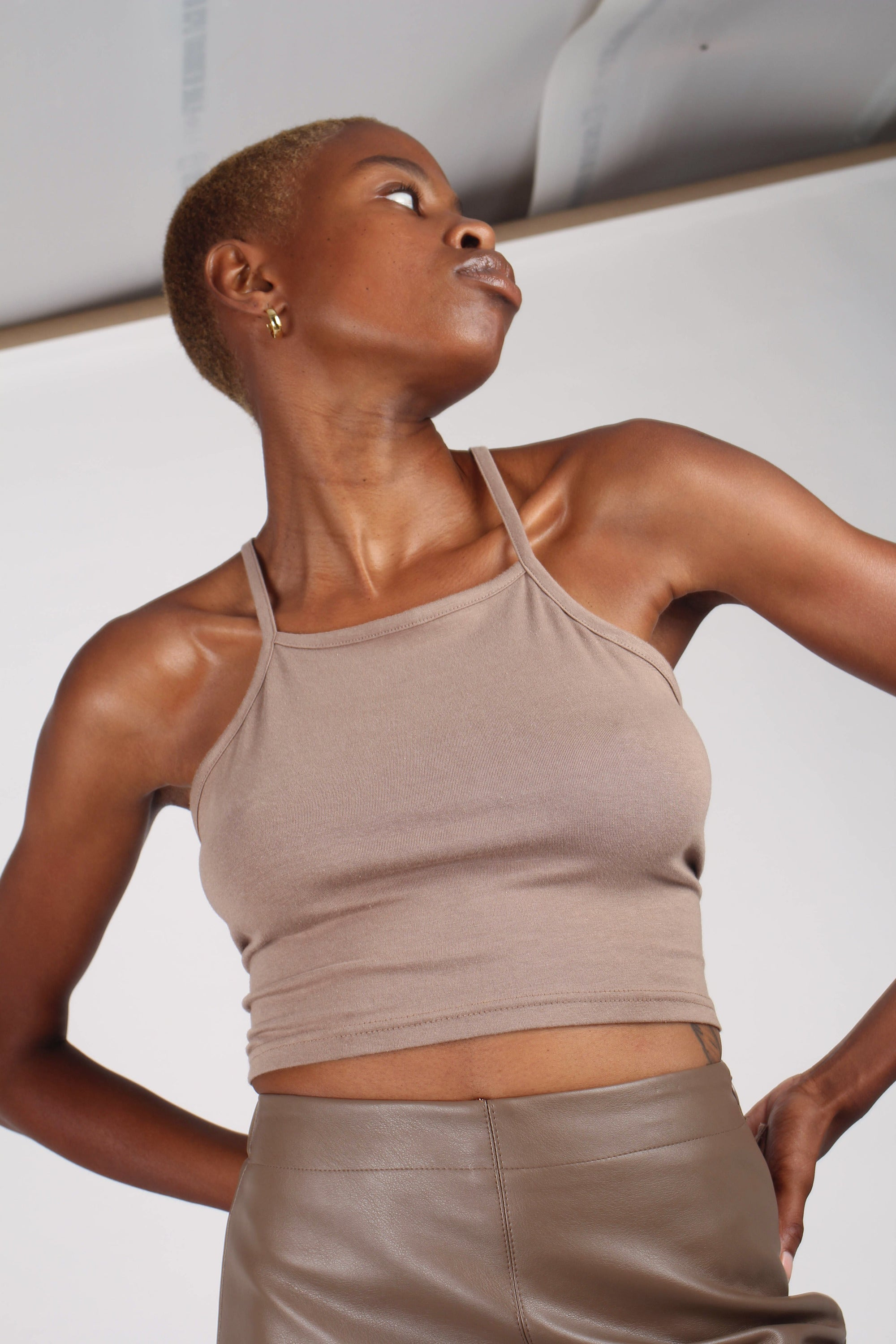 Pale brown open tie back cropped tank_2