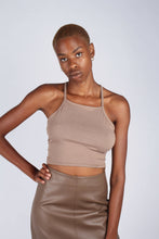 Load image into Gallery viewer, Pale brown open tie back cropped tank_4