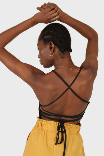 Black open back strappy tank1sx