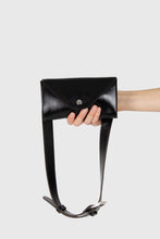 Load image into Gallery viewer, Black vegan leather pouch belt bag1a