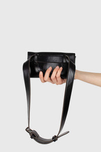Black vegan leather pouch belt bag5
