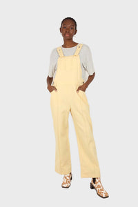 Pale yellow front patch pocket jumpsuit1sx